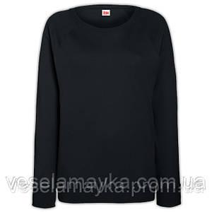 Черный свитшот женский приталенный (рукав - реглан)