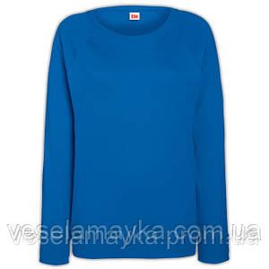 Синий женский приталенный свитшот (Толстовка - реглан)