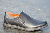 Туфли мужские без шнурков искусственная кожа черные практичные, удобные 2017. Топ