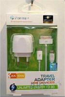 Зарядное устройство Parmp Usb Home Charger 2.1 A для Apple (TAMU-03UE) + кабель Dock, Micro, Lightning White