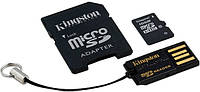 Карта памяти Kingston microSDHC 16 GB Class 10 (+ SD adapter + USB reader)
