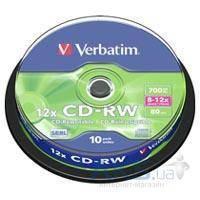 Диск Verbatim CD-RW 700Mb 12x Cake box 10шт (43480)