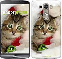 """Чехол на LG G3 D855 Новогодний котёнок в шапке """"494c-47-532"""""""
