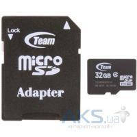 Карта памяти Team 32Gb microSDHC class 4 + SD Adapter (TUSDH32GCL403 / TG032G0MC24A)