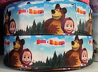 """Лента репсовая с рисунком 2.5 см """"Маша и медведь в лесу"""" , 25 ярд, оптом"""