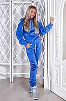 Женский Тёплый спорт костюм Плюш голубой