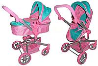 Коляска-трансформер для кукол Melogo 9695 мятно-розовая.