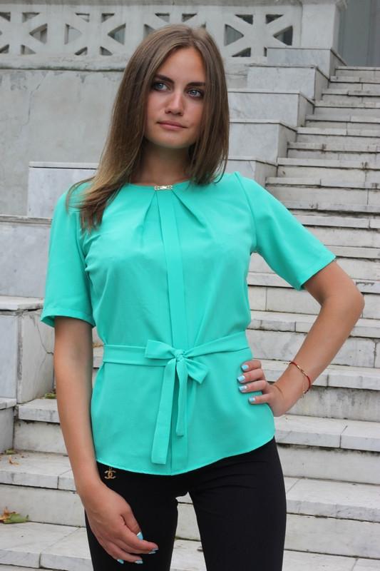 """Блузка женская с поясом однотонная зелёная """"Кери"""""""