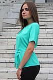 """Блузка женская с поясом однотонная зелёная """"Кери"""" , фото 2"""