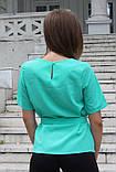 """Блузка женская с поясом однотонная зелёная """"Кери"""" , фото 3"""