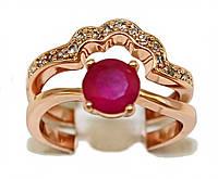 Кольцо 2в1 фирмы Xuping.Камни: белый и малиновый циркон. Цвет: позолота с красным оттенком.  Есть 16 р. 17 р.