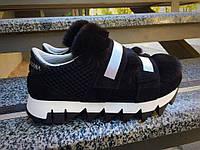 Кроссовки в стиле D&G с мехом. Натуральный замш+ мех кролика иск. Р-р 36-40. В трех цветах.