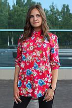 Рубашка женская удлиненная с цветочным принтом (красный)