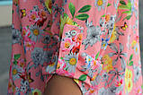 Рубашка женская удлиненная с цветочным принтом (коралл), фото 4