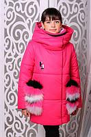"""Зимняя куртка для девочки """"Феличе"""" с вязаным хомутом в комплекте."""