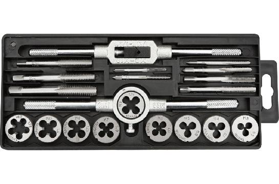 Плашки и метчики, M3 - M12, набор 20 шт.,  TOPEX 14A425