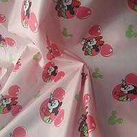 Плащевка принт детская (розовая) ткань.