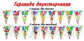 Флажки-гирлянды (карнавальная гирлянда из 9 флажков) вымпелы из бумаги двухсторонние