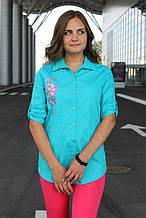 Сорочка жіноча подовжена з вишивкою (бірюзовий)