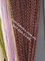Шторы-нити кисея цвета шоколад оптом и в розницу