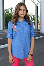 Сорочка жіноча подовжена з вишивкою (синій, джинс)