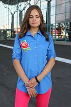 Сорочка жіноча подовжена з вишивкою (джинс, синій, темно-блакитний)