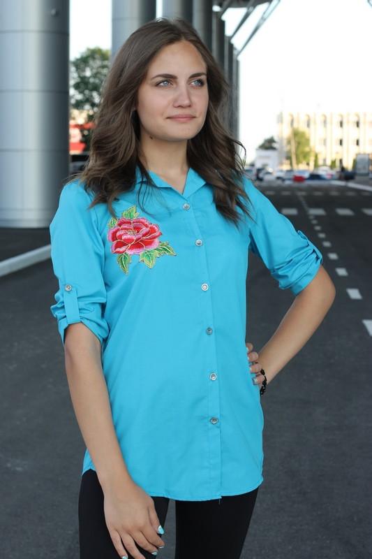 604f42a273d Рубашка женская удлиненная с вышивкой (бирюзовый)  оптом от ...