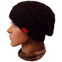 Женская вязаная шапка - носок объемной ручной вязки