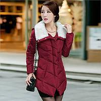 Куртка зимняя женская воротник мех кролика, ассиметрия Красная 46-48,Замеры в описании!