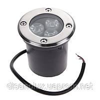 Грунтовый светильник  QL-1  LED 3W 220V Размер 80мм * 70мм  Красный IP67, фото 2