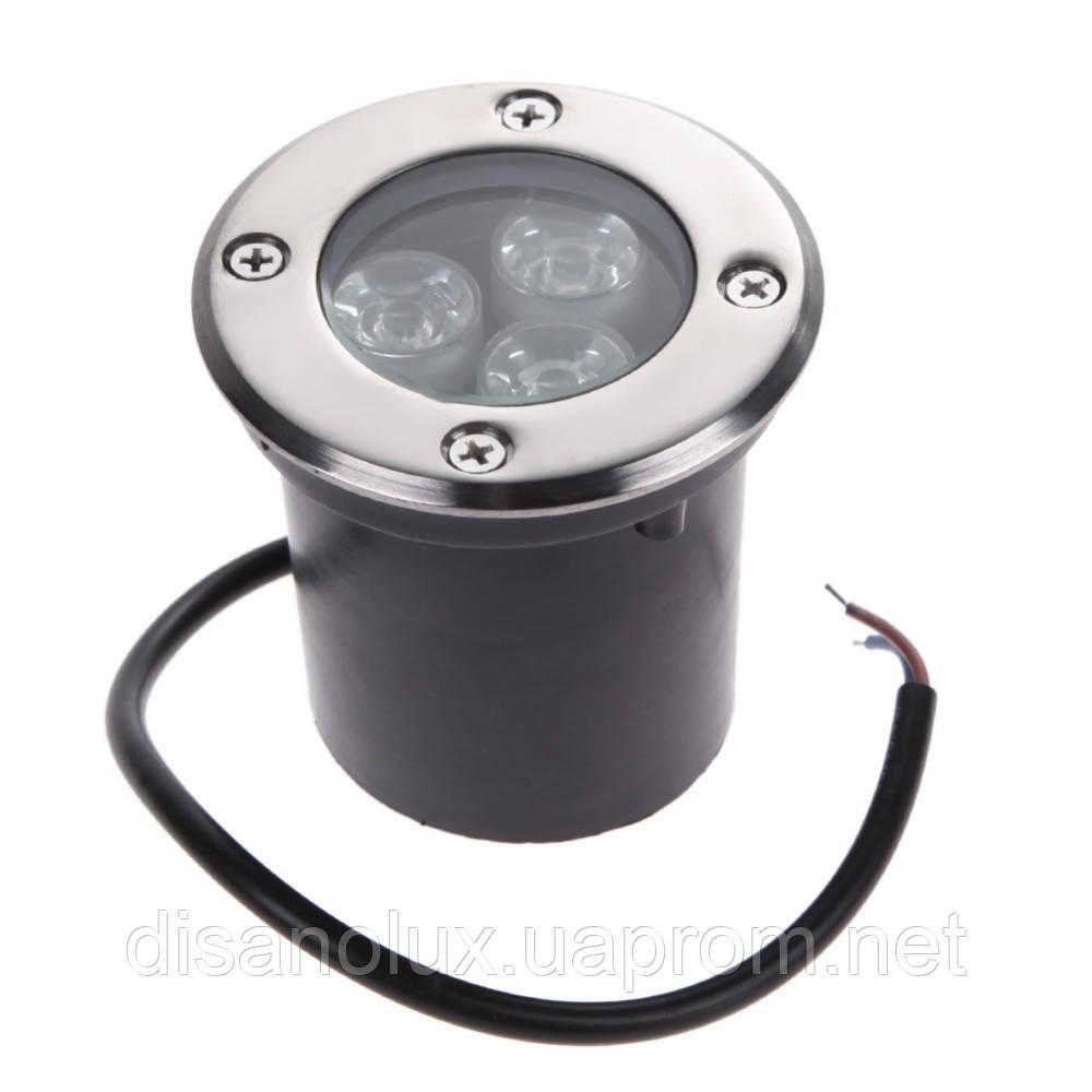 Грунтовый светильник QL-1 LED 3W 4100K 230V IP65 Размер 80мм* 80мм
