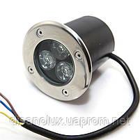 Грунтовый светильник QL-1 LED 3W 4100K 230V IP65 Размер 80мм* 80мм, фото 2
