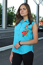 Сорочка жіноча безрукавка з вишивкою (бірюзовий)