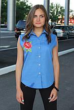 Сорочка жіноча безрукавка з вишивкою (синій, волошковий)