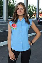 Сорочка жіноча безрукавка з вишивкою (блакитний)