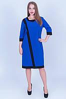 Еллегантное платье електрик  с черным(размеры в наличии 54,56,58,60) Код 589