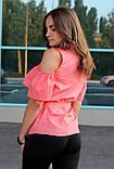 Блузка женская с воланами и вышивкой (коралл), фото 3