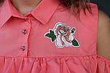 Блузка женская с воланами и вышивкой (коралл), фото 4