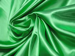 Ткань атлас зеленый травяной