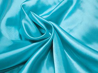 Ткань атлас голубая бирюза