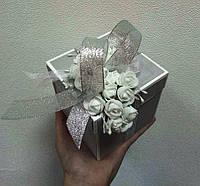 """Коробочка для весільного подарунку/грошей 100*100*100 мм """"СРІБНІ КІЛЬЦЯ"""", фото 1"""