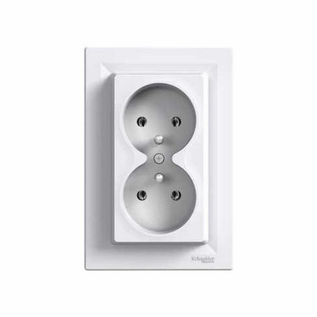Розетка двойная без заземления (БЕЛЫЙ) ASFORA SCHNEIDER ELECTRIC EPH9700121