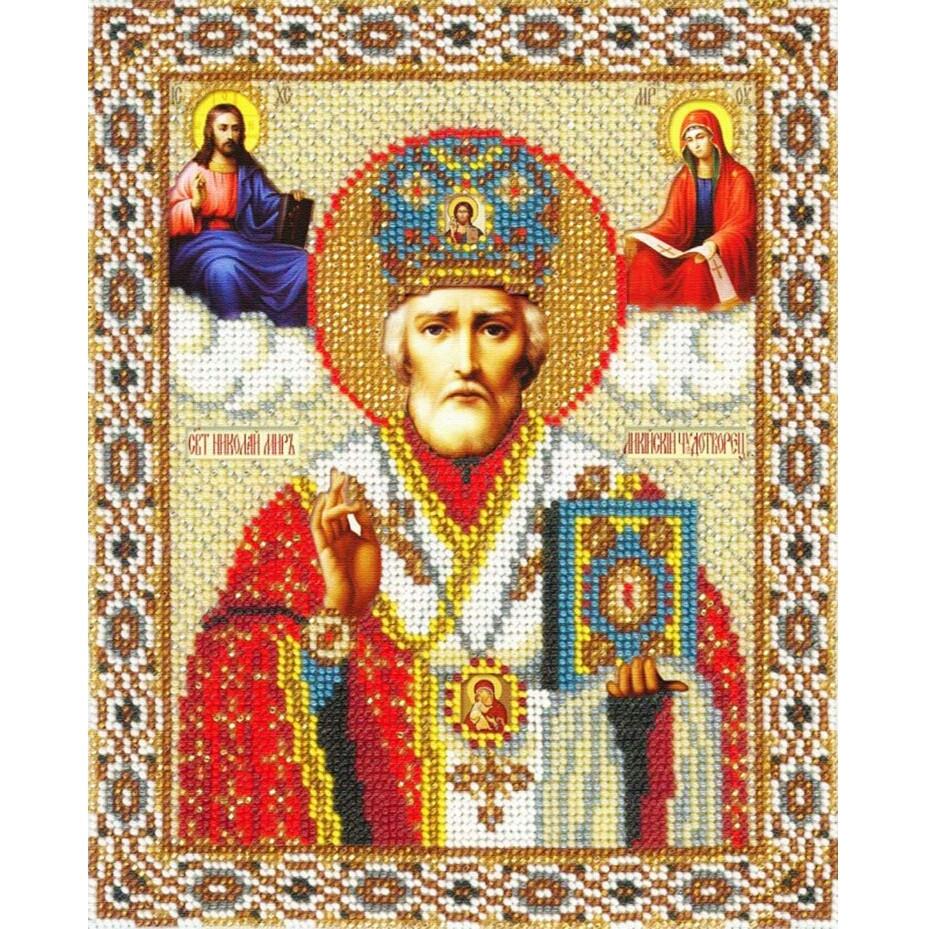 Алмазная вышивка 25*20 Святой Николай, Николай Чудотворец, икона, красный