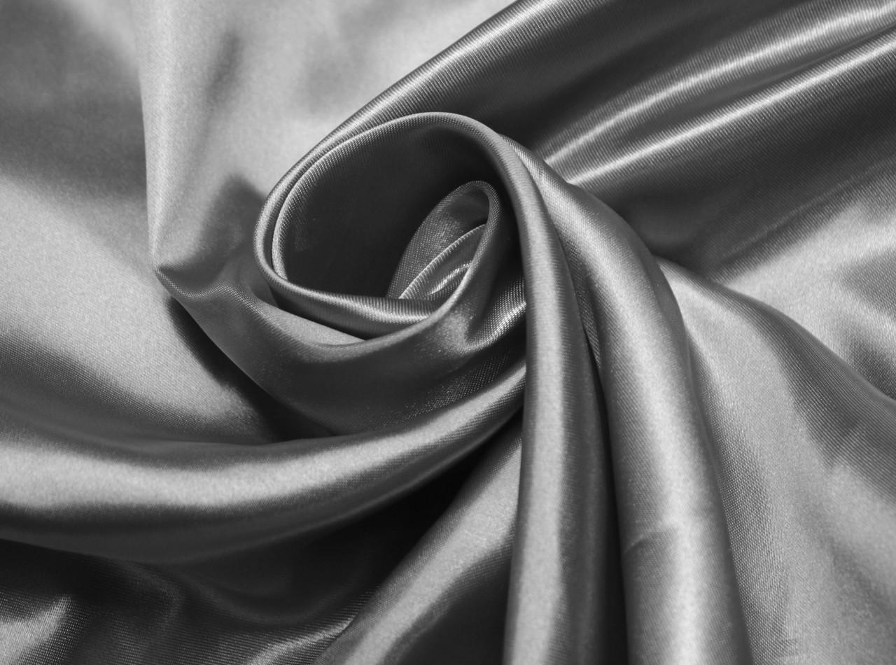 Ткань атлас темно- серый
