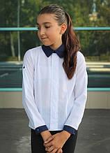 Блузка школьная белая с манжетами и кружевной планкой для девочки
