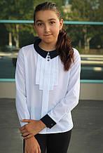 Блузка школьная белая с манжетами для девочки