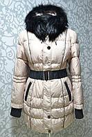 Теплый зимний пуховик пальто Shenowa с мехом енота по супер цене XL, фото 1