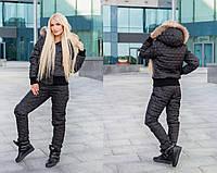Черный зимний костюм из стеганого лаке на силиконе
