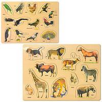 Деревянная игрушка Рамка-вкладыш MD 5000 (144шт) 2вида(животные, птицы), в кульке, 38-29-1см