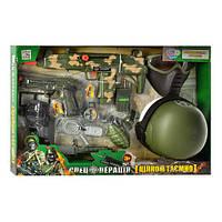 Набор военного 33560 (12шт) каска, маска, автомат-трещотка,на бат-ке, в кор-ке, 58,5-40-15см